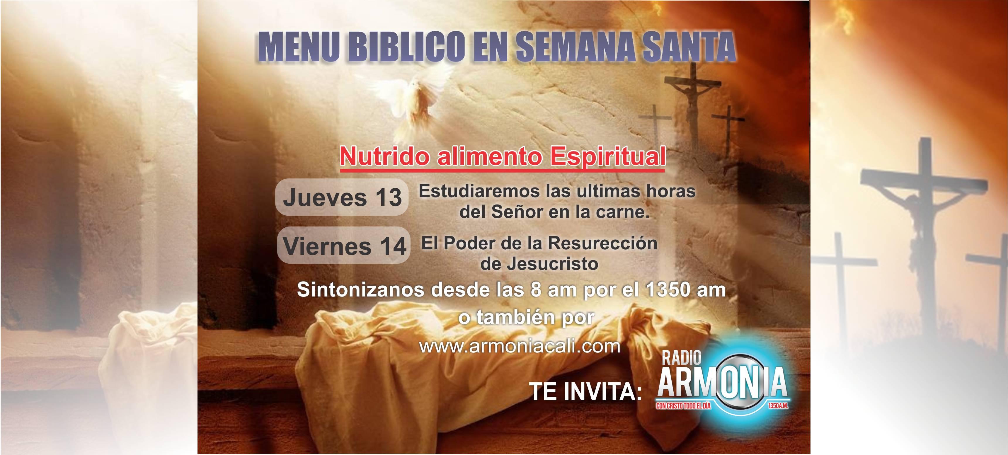 Menú Bíblico Semana Santa
